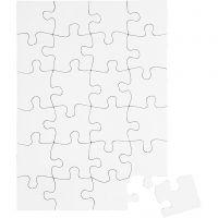 Puzzle blanc, dim. 15x21 cm, blanc, 16 pièce/ 1 Pq.