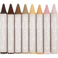 Pastels à la cire, L: 10 cm, d: 15 mm, Couleurs peau, 8 pièce/ 1 Pq.