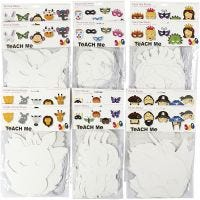Masques en papier cartonné, H: 15-22 cm, L: 24-25 cm, 230 gr, blanc, 192 pièce/ 1 Pq.