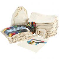 Des sacs à provisions et à cordons, à décorer aux feutres, dim. 27,5x30 cm, couleurs assorties, 1 set