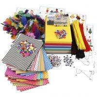 Grand paquet créatif avec matériel et gabarits, couleurs assorties, 1 set
