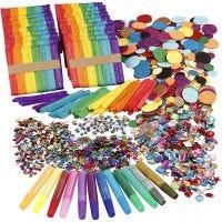 Paillettes et bâtonde glace, couleurs assorties, 1 set