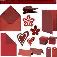 Happy Moments - Fabrication de cartes, rouge, rouge vin, rouge/vin rouge, rouge vin/rouge, 160 UV/ 1 Pq.