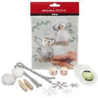 Mini kit créatif, anges sur pinces à linge en bois, 1 set