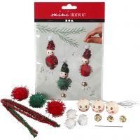 Mini kit créatif, lutins de Noël comme décoration à suspendre, 1 set