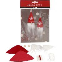 Mini kit créatif, lutin de Noël à suspendre, H: 11 cm, 1 set