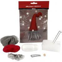 Mini kit créatif, lutin de Noël à barbe grise, H: 13 cm, 1 set