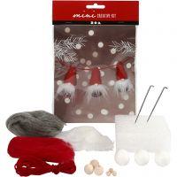 Mini kit créatif, lutin de Noël sur une corde, H: 6 cm, 1 set