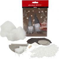 Mini kit créatif, Lutins du Père Noël scandinaves, H: 12 cm, gris, 1 set