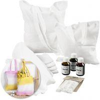 Kits - Torchons et sac fourre-tout teints en batik, 1 set