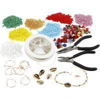 Kits - Fabrication de bijoux avec des perles de rocaille, doré, 1 set