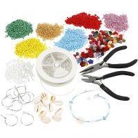 Kits - Fabrication de bijoux avec des perles de rocaille, argenté, 1 set