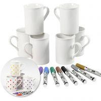 Kits - Décoration de tasses avec des feutres pour porcelaine, 1 set