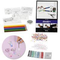 Kits – Fabrication de bijoux avec des perles et des feuilles de plastique thermorétractable, 1 set