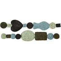 Perles de luxe - Assortiment, d: 6-37 mm, diamètre intérieur 2 mm, harmonie bleu/vert, 1 set