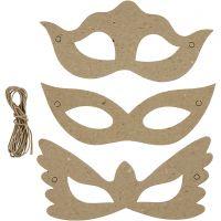 Masques, H: 5+8 cm, L: 18 cm, 3x10 pièce/ 1 Pq.