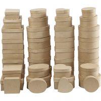 Boîtes , H: 5-7,5 cm, d: 10-18 cm, 72 pièce/ 1 boîte