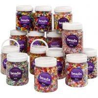 Perles plastique, dim. 6-15 mm, diamètre intérieur 1,5-6 mm, couleurs assorties, 16x700 ml/ 1 Pq.