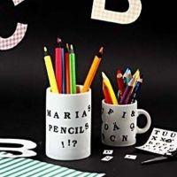 Porcelain mug with Color Dekor letters