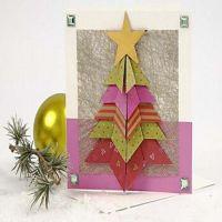 Carte avec arbre de Noël plié