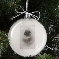 A flat Glass Bauble with Decoupage
