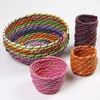 Coiled Basket Weaving bound together with stitches