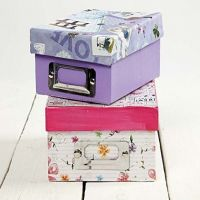 Decoupage on Cardboard Archive Boxes