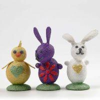 Décorations de Pâques faites avec de la Foam Clay métallisée