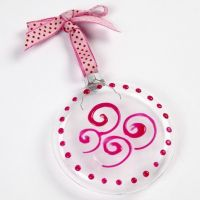 A flat Glass Bauble with Glass Effect Gel
