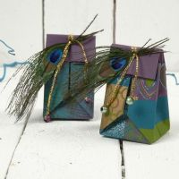 A Small Folded Gift Bag made from Handmade Paper