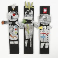 Robots made from Sleeping Mats and Foam Rubber with Glitter