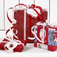 Papier cadeau de Noël rouge et blanc