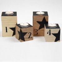 Bougeoirs pour calendrier de l'Avent avec chiffres et étoiles en noir
