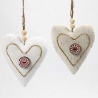 Coeurs en tissu avec un bouton et du 3D Liner