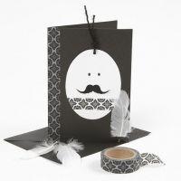 Une carte de Pâques blanc et noir - avec une tête en forme d'oeuf et du Masking Tape
