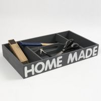 A painted wooden Shoe Polishing Box with a stamped Text