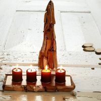 Papier-Mâché Cone & Tea Light Holder decorated with Driftwood
