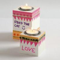 Bougeoirs pour bougies chauffe plat en bois, peints avec de la peinture pour tableau