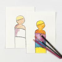 Crayons de couleur aquarellables mis en pratique
