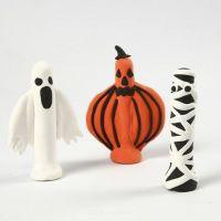 Des formes pour Halloween faites en pâte Silk Clay sur des pinces à linge