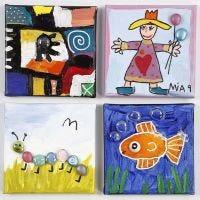 Des peintures sur toile décorées avec des pierres décoratives en verre autocollantes