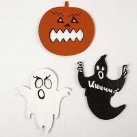 Des figures de papier cartonné pour Halloween, peintes et décorées