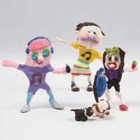 Des figurines imaginaires en fil Bonsaï, film fin et pâte Silk Clay