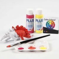 Des dinosaures peints avec des couleurs primaires