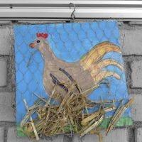 L'image d'une poule qui couve ses oeufs