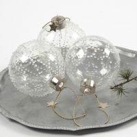 Une boule en verre avec bourgeons de glace