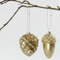 Glass Baubles with gold Glitter on the inside