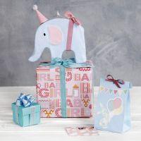 Papier d'emballage pour fête prénatale avec décorations