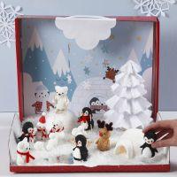 Le pays des merveilles d'hiver avec des figurines miniatures en pâte Foam Clay