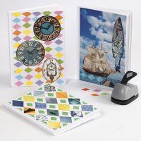 Un livre décoré d'un collage avec du papier Color Bar et des magazines